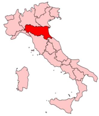 Music of Emilia-Romagna - Image: Italy Regions Emilia Romagna Map