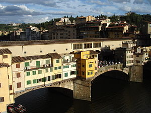 Summary of Decameron tales - The Ponte Vecchio, which was brand new in Boccaccio's time, in Florence. The city is the setting of many stories of the Decameron.