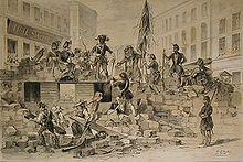 Barricadas de Viena, 26 y 27 de mayo de 1848. Litografía deJosef Heicke(1848).