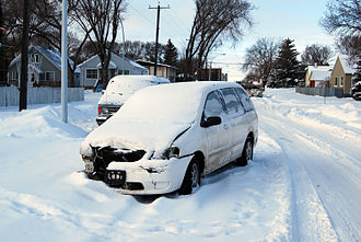 Motor vehicle theft - Abandoned vehicle left in deep snow, after a joyride, Edmonton, Alberta