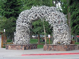 Jackson, Wyoming - One of the large arches of shed elk antlers