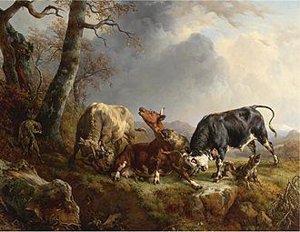 Jacques Raymond Brascassat - Image: Jacques Raymond Brascassat Deux taureaux défendre contre une vache attaqués par des loups