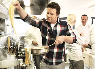 Jamie Oliver - Oliver cooking at one of the Scandic Hotels in 2014