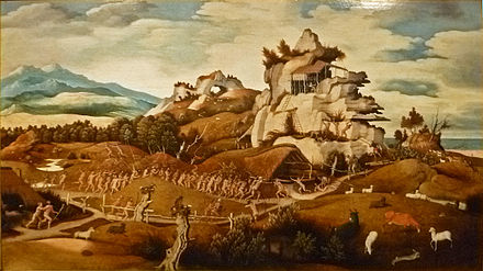 """Episode from the Conquest of America"" by Jan Mostaert (c. 1545), probably Coronado in New Mexico Jan Jansz Mostaert - Verovering van Amerika 001.JPG"
