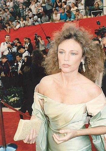 Jaqueline Bisset on the red carpet at the 1989...