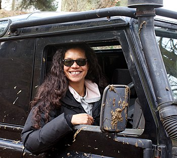 In late 2017, Jacob learns that he has fathered a child with his best friend Elle Gardener, played by Jaye Griffiths (pictured). Jaye Griffiths training in a Land Rover Defender prior to competing in the 2013 Mac 4x4.jpg