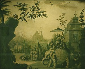 Verdaille - A Chinoiserie Procession of Figures Riding on Elephants with Temples Beyond, oil on canvas verdaille by Jean-Baptiste Pillement, Honolulu Museum of Art
