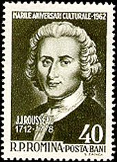 Jean-Jacques Rousseau on a Romanian stamp, 1962 (Source: Wikimedia)