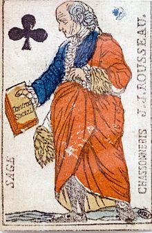 Rousseau de profil, le haut du corps vêtu à la mode de son temps; le bas, à celle antique.