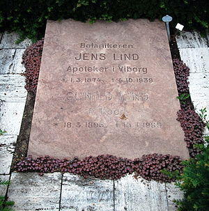 Jens Lind - Gravestone of Jens Lind and wife Gunild, placed at Viborg Cemetery  (Photo: Lars Schmidt).