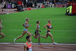Heptathlon - Tatyana Chernova, Jessica Ennis and Lilli Schwarzkopf racing in the final 800 m event at the 2012 Olympic heptathlon
