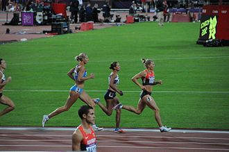 Heptathlon - Tatyana Chernova, Jessica Ennis and Lilli Schwarzkopf racing in the final 800 m event at the 2012 Olympic heptathlon