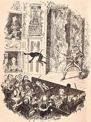 Joseph Grimaldi - Joe's debut into the pit at Sadler's Wells, illustration by George Cruikshank for Dickens's memoirs of Grimaldi