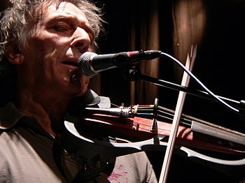 Photo of John Cale playing the viola at a conc...