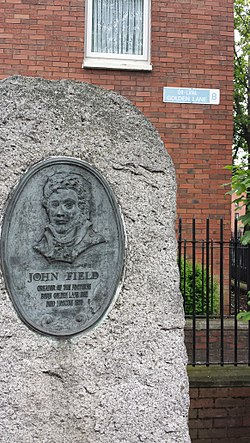 Photo of John Field grey plaque