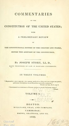 Joseph Story, Commentaries on the Constitution of the United States (1st ed, 1833, vol I).djvu