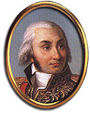 Oval painting shows a white-haired man with a prominent widow's peak. He wears a high-collared military uniform with much gold braid.