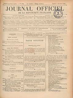 <i>Journal officiel de la République française</i> government gazette of the French Republic