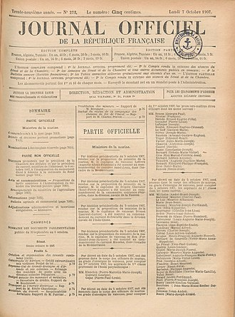 Journal officiel de la République française - 7 October 1907 edition
