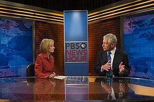 PBS NewsHour - Judy Woodruff interviewing US Secretary of Defense Chuck Hagel in September 2013
