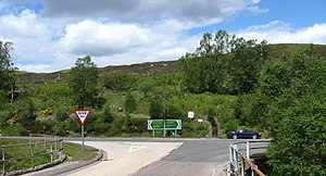 Willie MacRae - Junction of the A887 and A87 roads at Bun Loyne, Glenmoriston, Inverness-shire. MacRae and his car were found just off the road here.