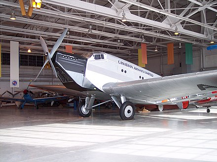 "Ju 52/1m replica (converted from 52/3m) of ""CF-ARM"" at the Royal Aviation Museum of Western Canada, Winnipeg, Manitoba, Canada Junkers Ju-52 single-engine.JPG"