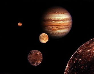 Moons of Jupiter - A montage of Jupiter and its four largest moons (distance and sizes not to scale)