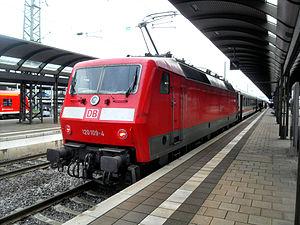 Kaiserslautern Hauptbahnhof - InterCity train hauled by DB Class 120 locomotive in Kaiserslautern on the way to Saarbrücken
