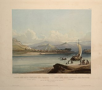 """Gros Ventre - Camp of the Gros Ventres of the Prairies on the upper Missouri. (circa 1832): aquatint by Karl Bodmer from the book """"Maximilian, Prince of Wied's Travels in the Interior of North America, during the years 1832–1834"""""""