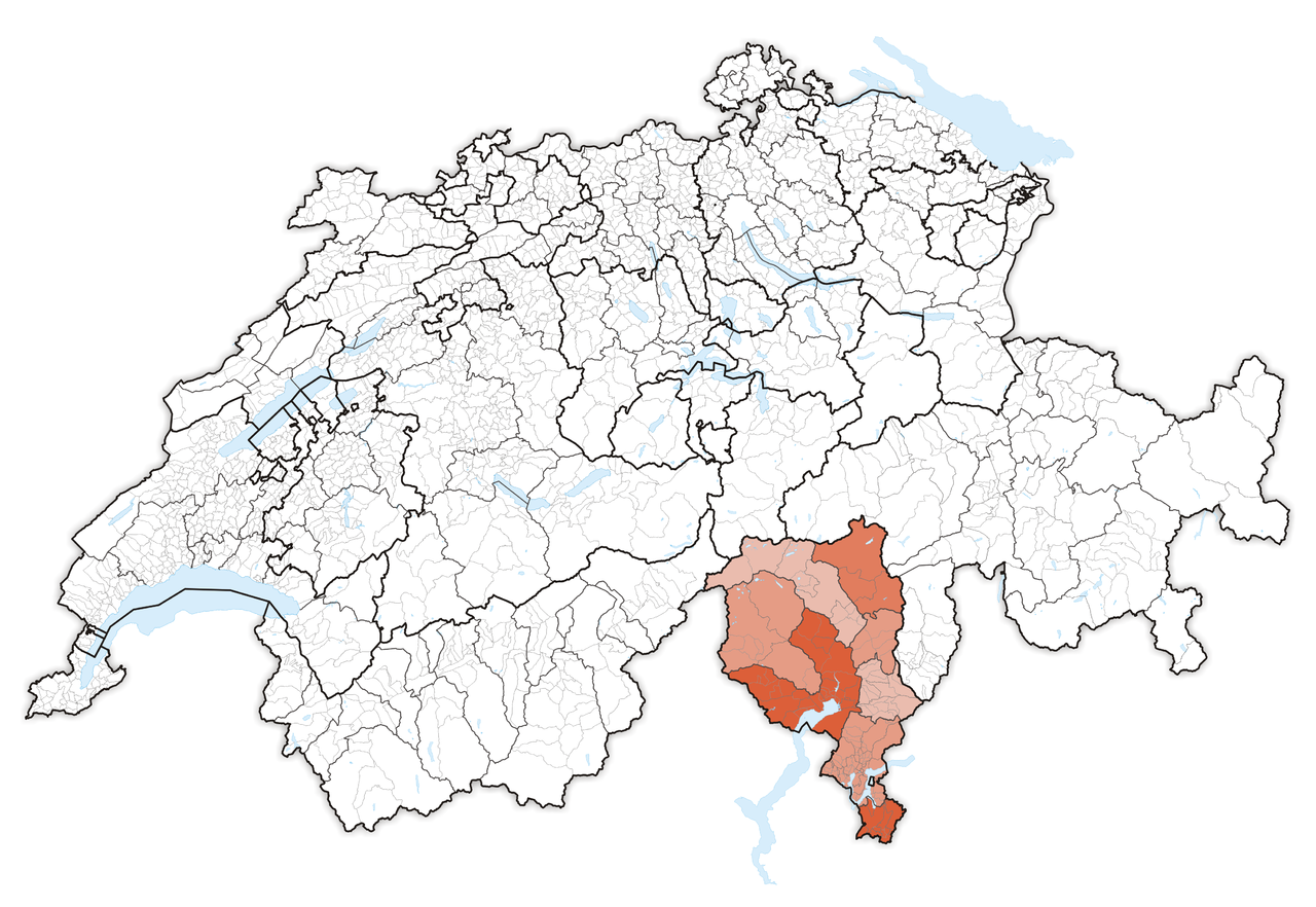 Map of Switzerland, location of Ticino highlighted