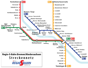 Karte der Regio-S-Bahn Bremen-Niedersachsen