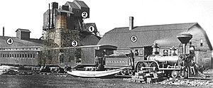 Katahdin Iron Works - Historic view of the iron works.  Annotations are as follows: ore kiln (1), top houses (2), furnace (3), casting shed (4) and storage barn (5).