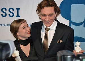Jussi Awards - Award winners Katja Küttner and Ville Virtanen at the Jussi Awards ceremony in 2011.