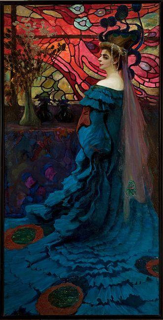 Young Poland - Kazimierz Stabrowski, Peacock. Portrait of Zofia Borucińska, 1908