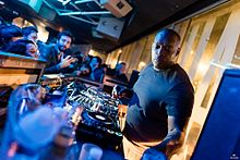 "Kevin Saunderson performing at the Detroit Love Party, at the club ""Nuits Fauves"" in Paris in 2016"