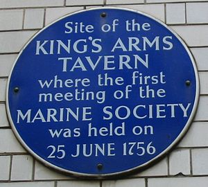 The Marine Society - Plaque marking site of the foundation of The Marine Society