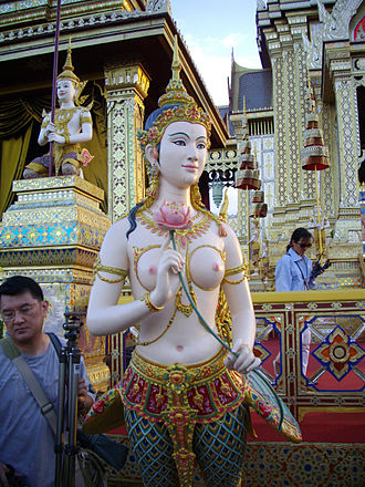Kinnara - Sculpture of a kinnari which was decorated in the royal crematorium of Princess Galyani Vadhana at Sanam Luang, Bangkok, Thailand (2008).