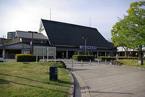 Kashiharajingū-mae Station - The central entrance of the station building designed by Togo Murano