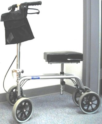 Knee scooter - Knee and Leg Walker by Essential Medical Supply. This version has an adjustable cushion and handlebars, with dual handbrakes.