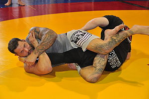 Leglock - A kneebar is performed on the leg similarly to how the armbar is performed on the arm.
