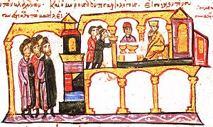 Petar of Serbia - Constantine VII and Symeon dining.   (Madrid Skylitzes, fol. 120r)