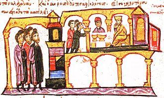 Petar of Serbia - Constantine VII and Symeon dining.   (Madrid Skylitzes, fol. 120r)