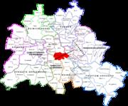 Location of Kreuzberg in Berlin