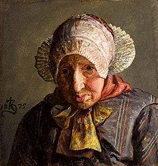Brystbillede en face af en gammel kone fra Ribe med pibekappe