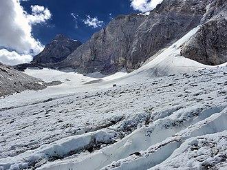 Lötschberg - The Lötschen Pass (left) from the glacier