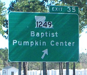 Interstate 12 - I-12's eastbound exit to LA 1249, which leads to the communities of Baptist and Pumpkin Center
