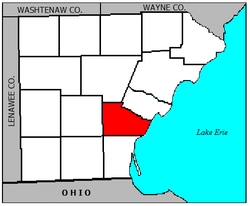 Location of La Salle Township within Monroe County.