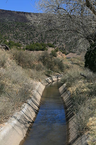 Acequia - Concrete-lined portion of La Canova acequia, near Velarde, New Mexico