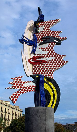 Ben-Day dots - El Cap de Barcelona, a 1992 sculpture by Roy Lichtenstein, who employed Ben-Day dots in his paintings