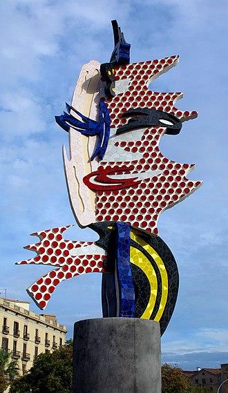 Ben Day process - El Cap de Barcelona, a 1992 sculpture by Roy Lichtenstein, who employed Ben Day dots in his paintings
